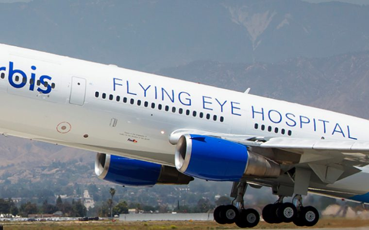The Orbis Flying Eye plane takes off