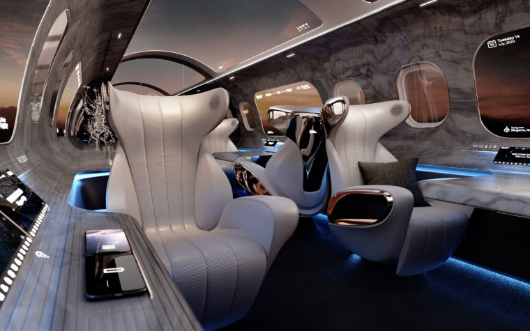 Inside a futuristic aircraft cabin with two seats and touch controls