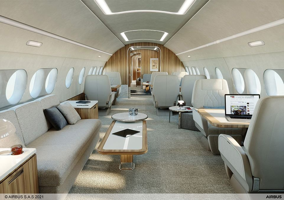 Inside the Airbus TwoTwenty business jet.