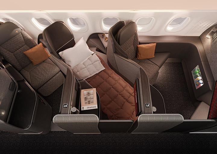 A lie-flat seat onboard an aircraft