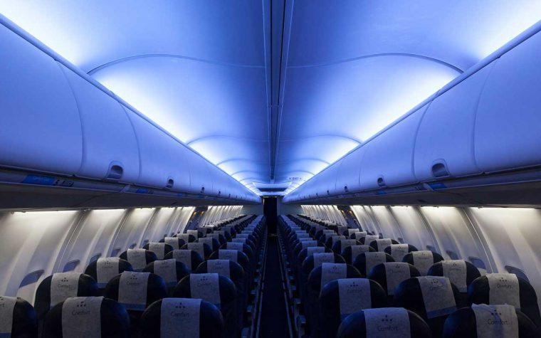 airplane interior blue lighting